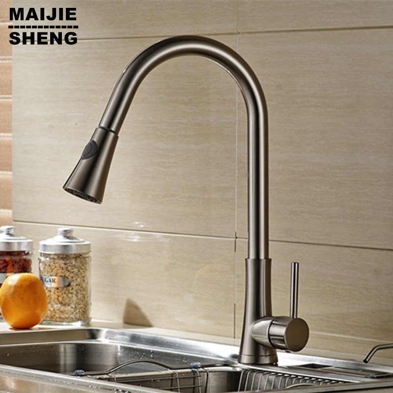 New kitchen faucet pull down brushed kitchen faucet torneira cozinha kitchen tap pull out kitchen mixer