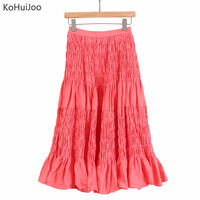 KoHuiJoo 2019 Summer Long Loose Skirt Women Fashion Solid Pleated Casual A line Skirts Female Comfortable Jupe Skirt