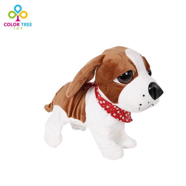 Sound Control Pet Интерактивная Электронная Собака Плюшевые Игрушки Щенок-Лает Сидит Прогулки Игрушки Собаки Для Детей День Рождения