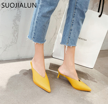 SUOJIALUN 2019 New Summer Women Mules High Quality Pointed Toe Slip On Slipper Thin Heels Woman Outdoor Slippers Pumps