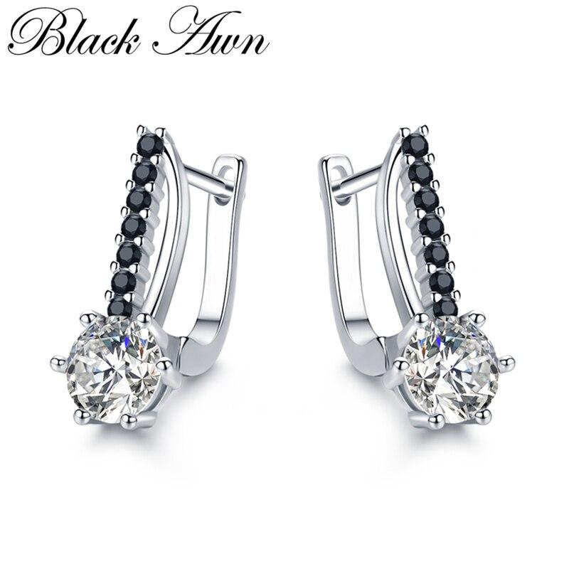 [BLACK AWN] mignon 925 Bijoux en argent Sterling boucles d'oreilles pour femmes Boucle D'oreille Femme Bijoux en argent 925 Bijoux I119