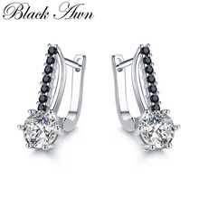 [BLACK AWN] Cute 925 Sterling Silver Jewelry Hoop Earrings for Women Boucle Doreille Femme Bijoux I119