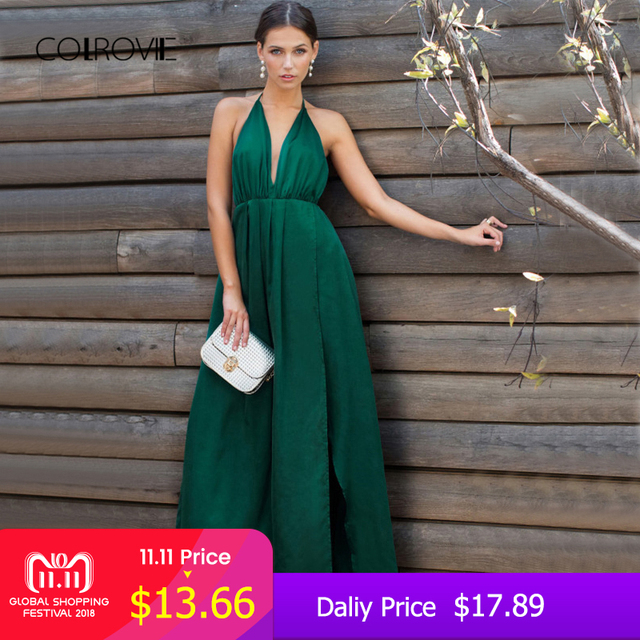 bade4abd60231 COLROVIE Sexy High Slit Satin Maxi Party Dress Women Plunge Neck Cross Back  Summer Dresses Green Sleeveless Wrap Cami Dress-in Dresses from Women's ...