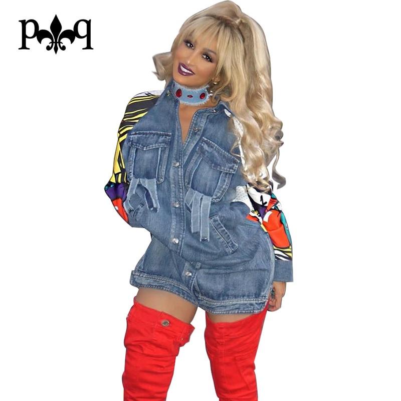 Bomber <font><b>Jacket</b></font> Women Casual Loose Jean <font><b>Jacket</b></font> Long Sleeve Coat Print Patchwork Pocket Outwear Denim <font><b>Jackets</b></font> Women Chaqueta Mujer