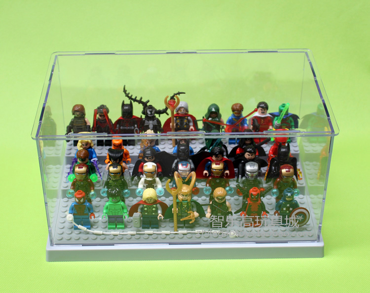 Five Color Acrylic Plesiglas Display Case Display Box 26*15*13cm For Building Block Super Heroes Avengers Baseplate Children Toy