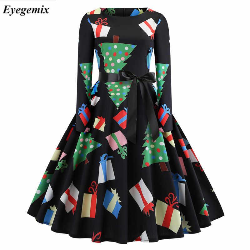 4752eebffe Fashion Big Size Winter Vestido Elk Christmas Stocking Print Women s Retro  Christmas Dress Santa Claus Print