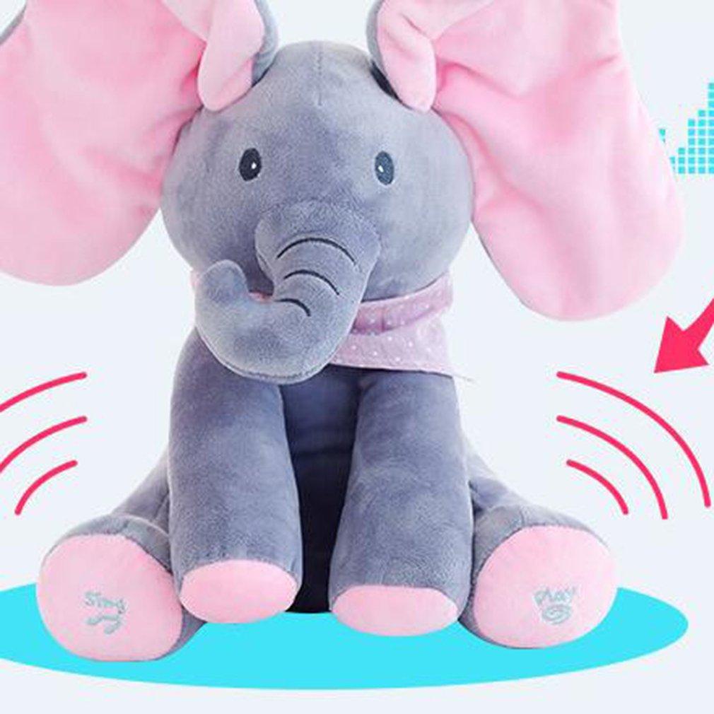Peekaboo espreita-uma-boo de Pelúcia Elefante Elefante Elétrica Piscando com Concert Singing Cinza Plus Versão Inglês Vermelho Recheado brinquedo