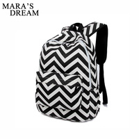Mara S Dream Women Backpack Travel PU Striped Zipper Big Capacity Softback Preppy Style Backpack Designers