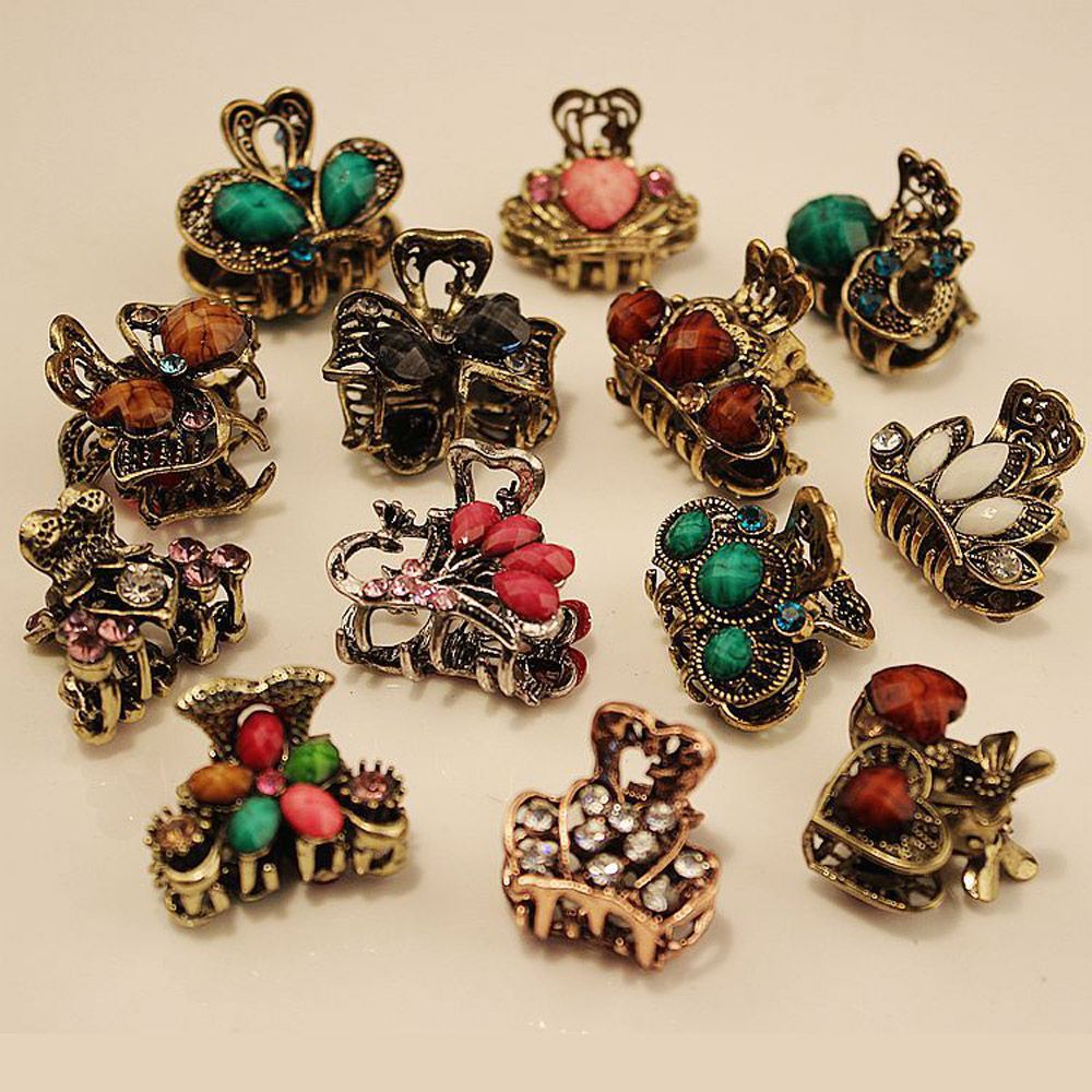 Random!!1PC Vintage Metal Butterfly Small Mini Hair Clip Claw Clamp Retro Crystal Rhinestone Hairpin Jewelry Hair Accessories 1 set new girls colorful carton hair clips small crabs hair claw clips mini hairpin kids hair ornaments claw clip