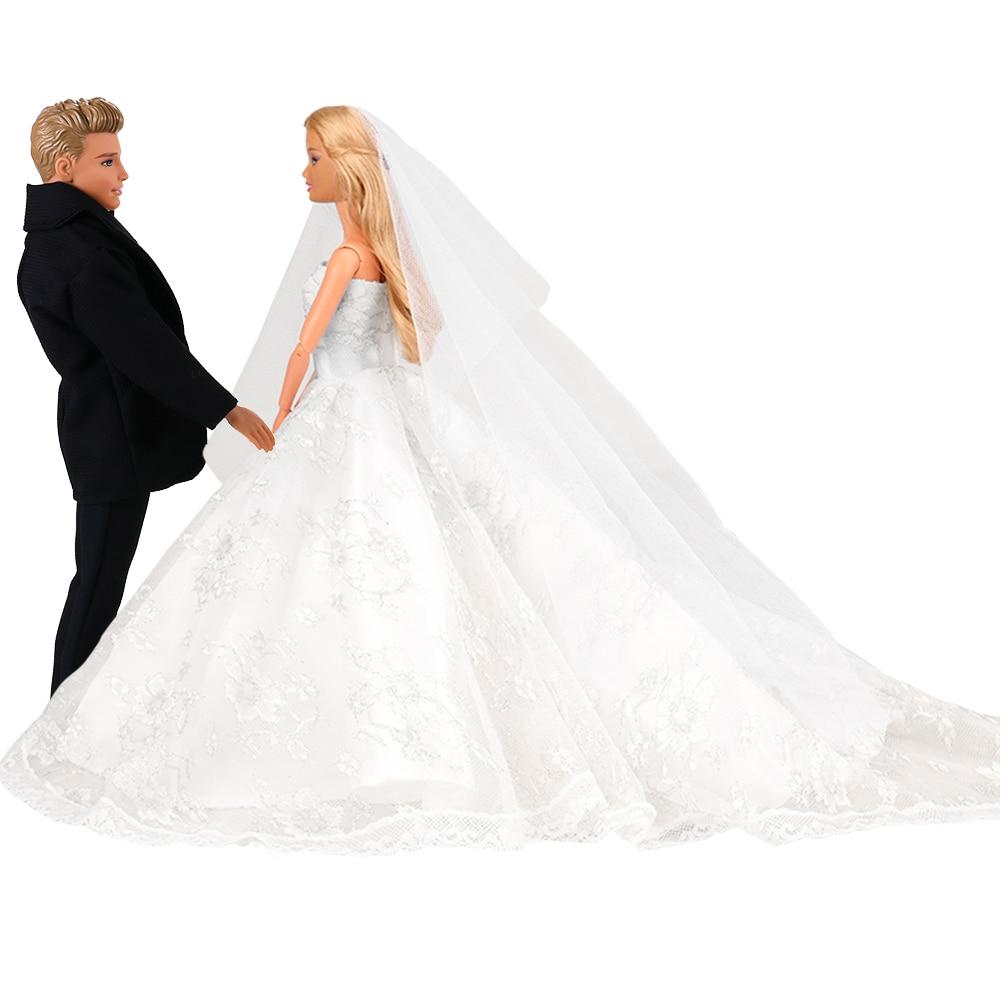 Fashion Handmade Beautiful Doll Accessories Bride Princess Wedding Dress White Groom Dolls Clothes For Barbie Ken Game DIY Gift