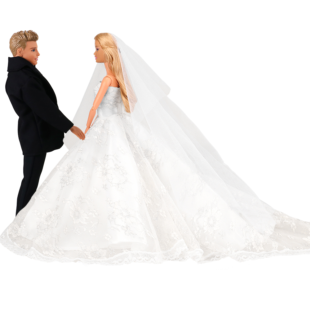 Newest Handmade Beautiful White Bride Princess Wedding Dress Doll Accessories Groom Suits  Clothes For Barbie Ken Game DIY Gift