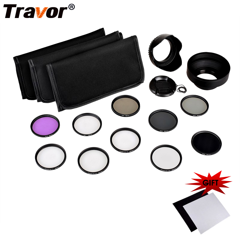 Travor UV CPL FLD Camera Lens Filter 49MM 52MM 55MM 58MM 62MM 67MM 72MM 77MM And Close-Up Macro Accessory Kit