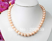 Hot sell Noble FREE SHIPPING>>>@@ AS1882 A GRADE 10MM NATURAL PINK CULTURED FRESHWATER PEARL CHOKER NECKLACE 925 SILVER