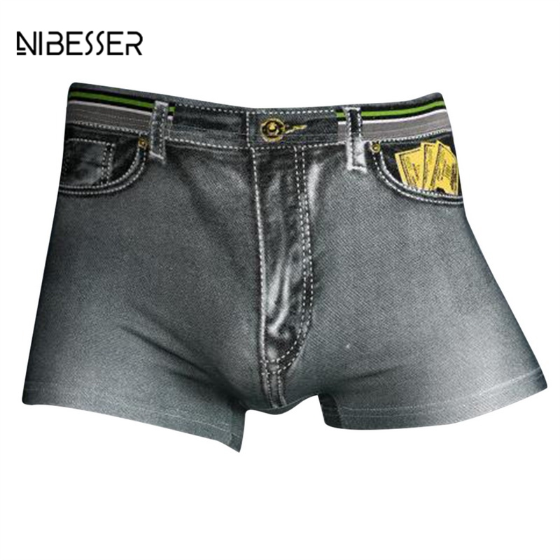NIBESSER Cowboy Printed Male Shorts Breathable Mens Underwear Sexy Soft Comfortable Boxers Men Dimensional Cut Cool Men Boxer