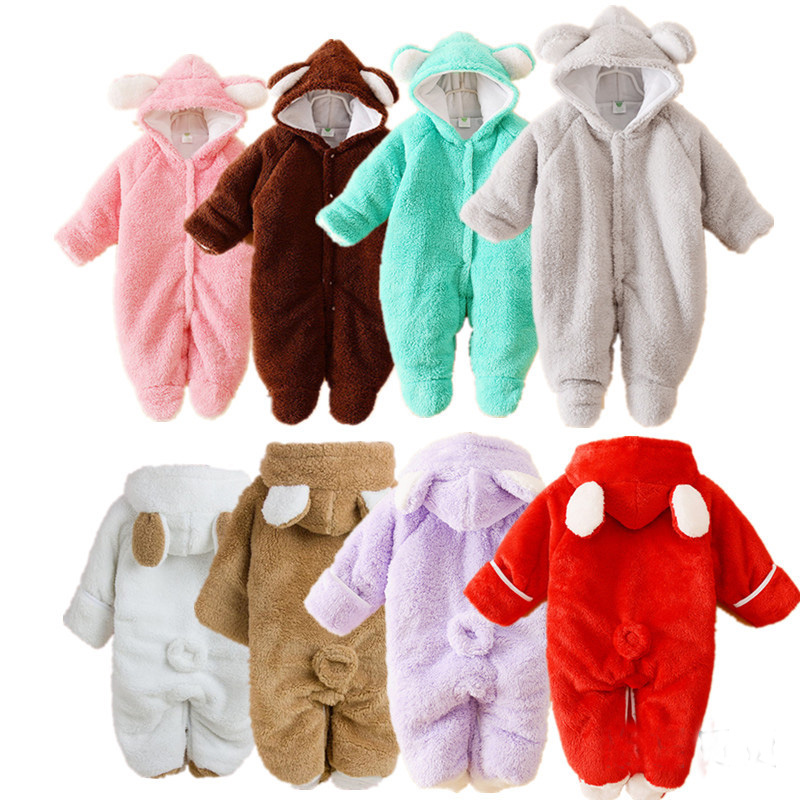 Newborn Warm Baby Clothes Animal Winter Clothing Thicken Romper Baby Climb Clothes Cotton-Padded Fleece Overalls Hooded Jumpsuit spring baby boys girls clothing winter baby hooded rompers cotton padded kids warm overalls climb clothes for newborn babies
