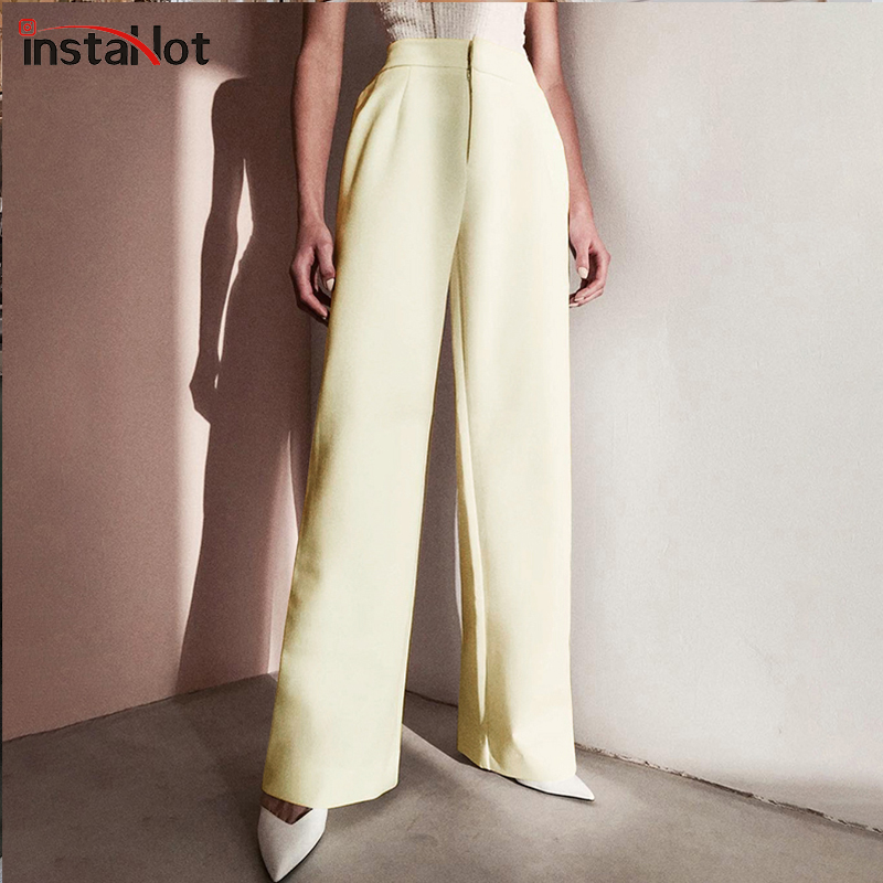 InstaHot Women's Office Lady Long Flare Pants Beige High Waist Trousers 2019 Autumn Elegant Slim Straight Formal Loose Pants