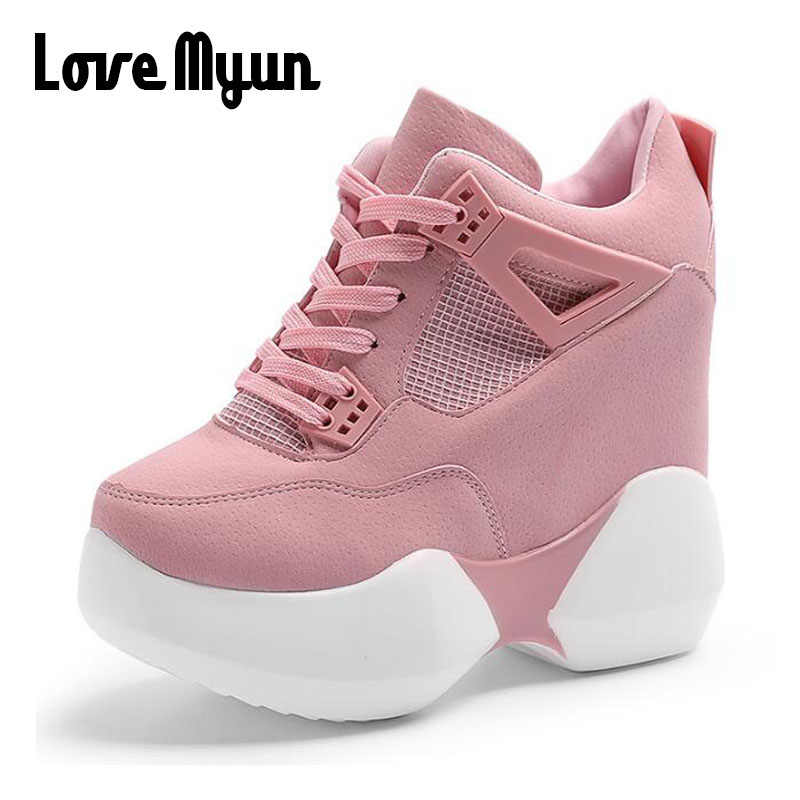 67d039fdfee Women flats Platform Shoes Height increasing casual sneaker thick Sole  Trainers Lady pink high heels wedge