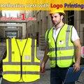 Amarillo de alta visibilidad chaleco reflectante de seguridad chaleco con bolsillos de impresión personalizada logotipo de la empresa envío gratis