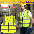 High visibility yellow vest with pockets safety reflective vest custom print company logo free shipping