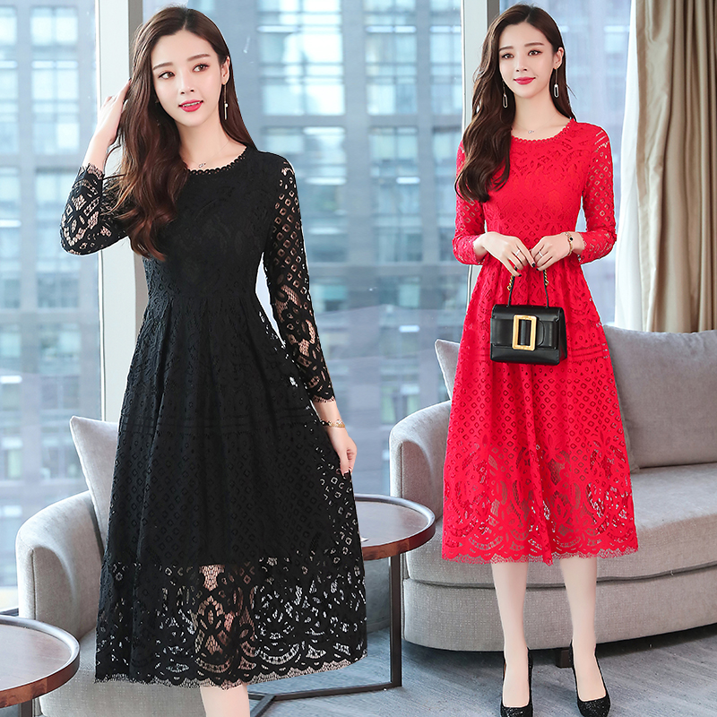 da67297d570 2018 Autumn Winter New Plus Size Vintage Lace Midi Dresses Women Elegant  Bodycon Black Dress Party