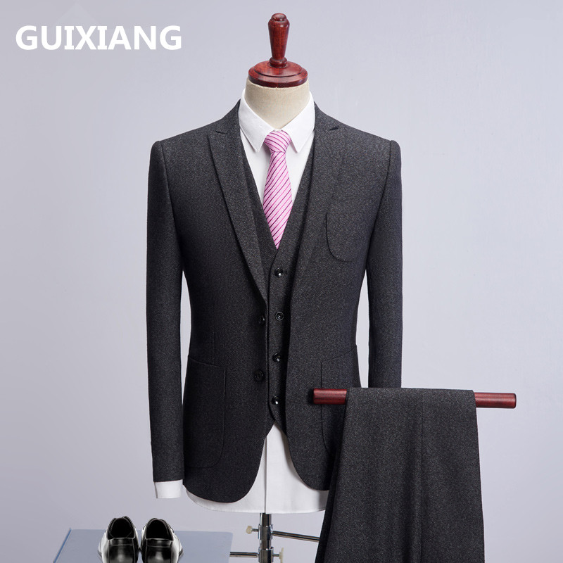 (Jacket+Vest+Pants)2018 new style jacket Men single breasted woolen suits Men's Slim Fit business wedding Suit men classic suits