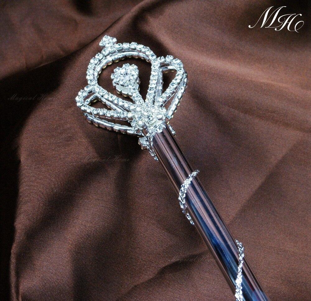 Couronne royale style Sceptre Baguette Strass Beauté Mariage De Reconstitution Historique Nuptiale Fée Magique Reine Double Côté Sceptre Prop Personnel