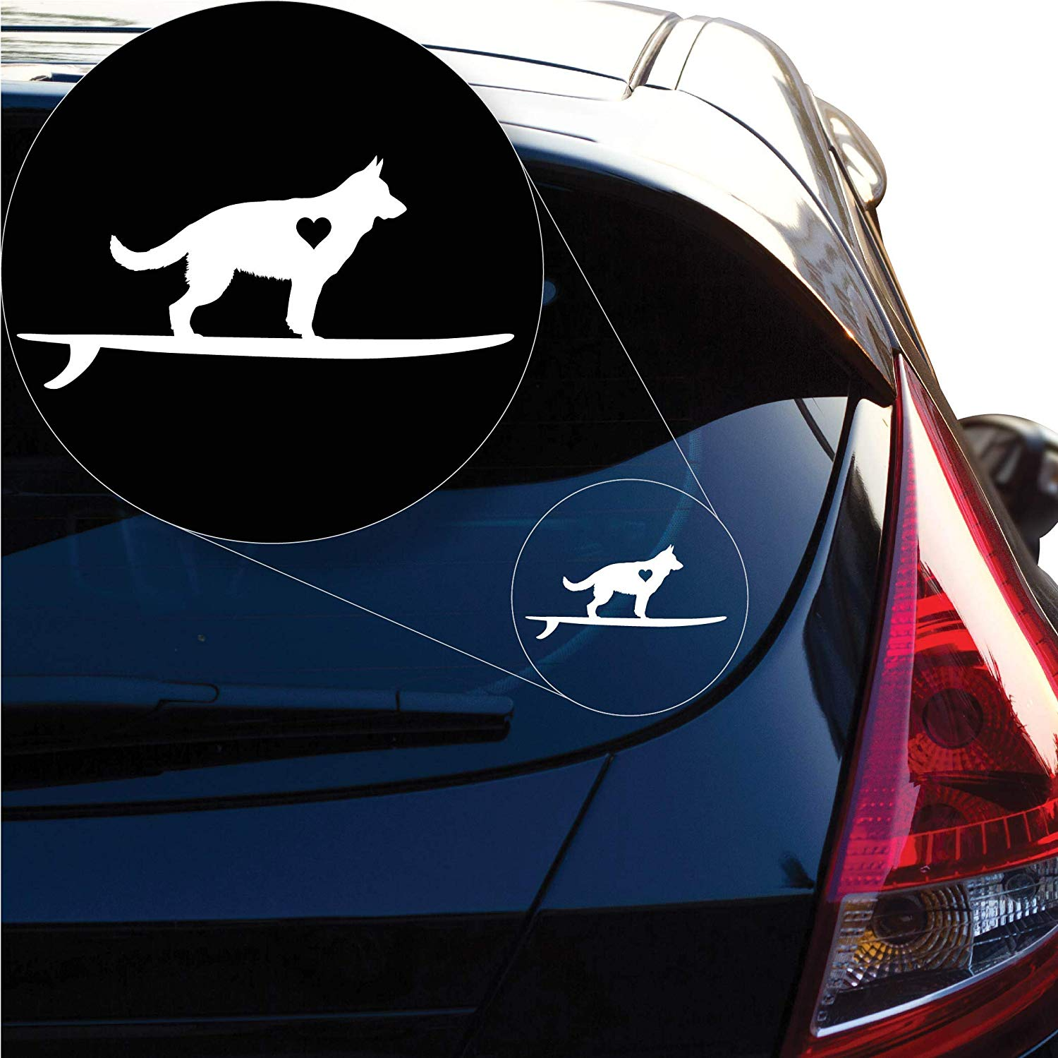 German Shepherd on Board Decal Sticker for Car Window, Laptop and More. # 1264 (3 X 6.3, White)