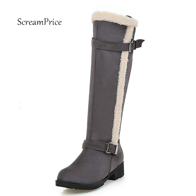 Faux Suede Winter Keep Warm Side Zipper Knee High Snow Boots Comfortable Square Heel Fashion Buckle Shoes Women Black Gray women kid suede lace up comfortable square heel knee high boots fashion pointed toe keep warm winter shoes black khaki