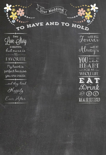 Blackboard Cotton Polyster Washable Wedding Photo Backdrop Chalkboard Printable