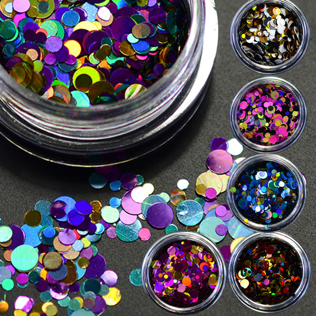 12 lådor / set Snygg färg Färg Blandad Mini Rund Tunn Nail Art - Nagel konst