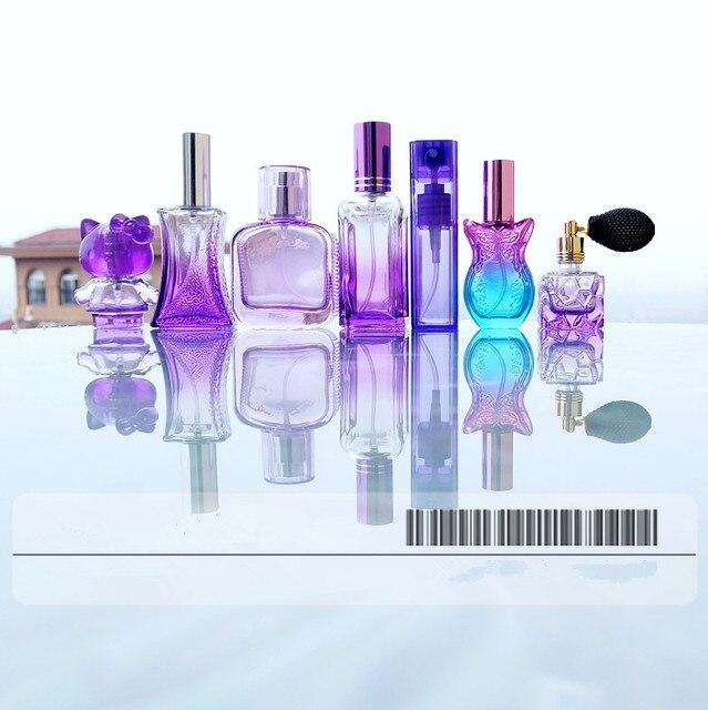 Purple Glass Perfume Bottle Set 7 Vintage Glass Crystal Mini Empty Perfume Bottles Spray Wedding Decor Gifts