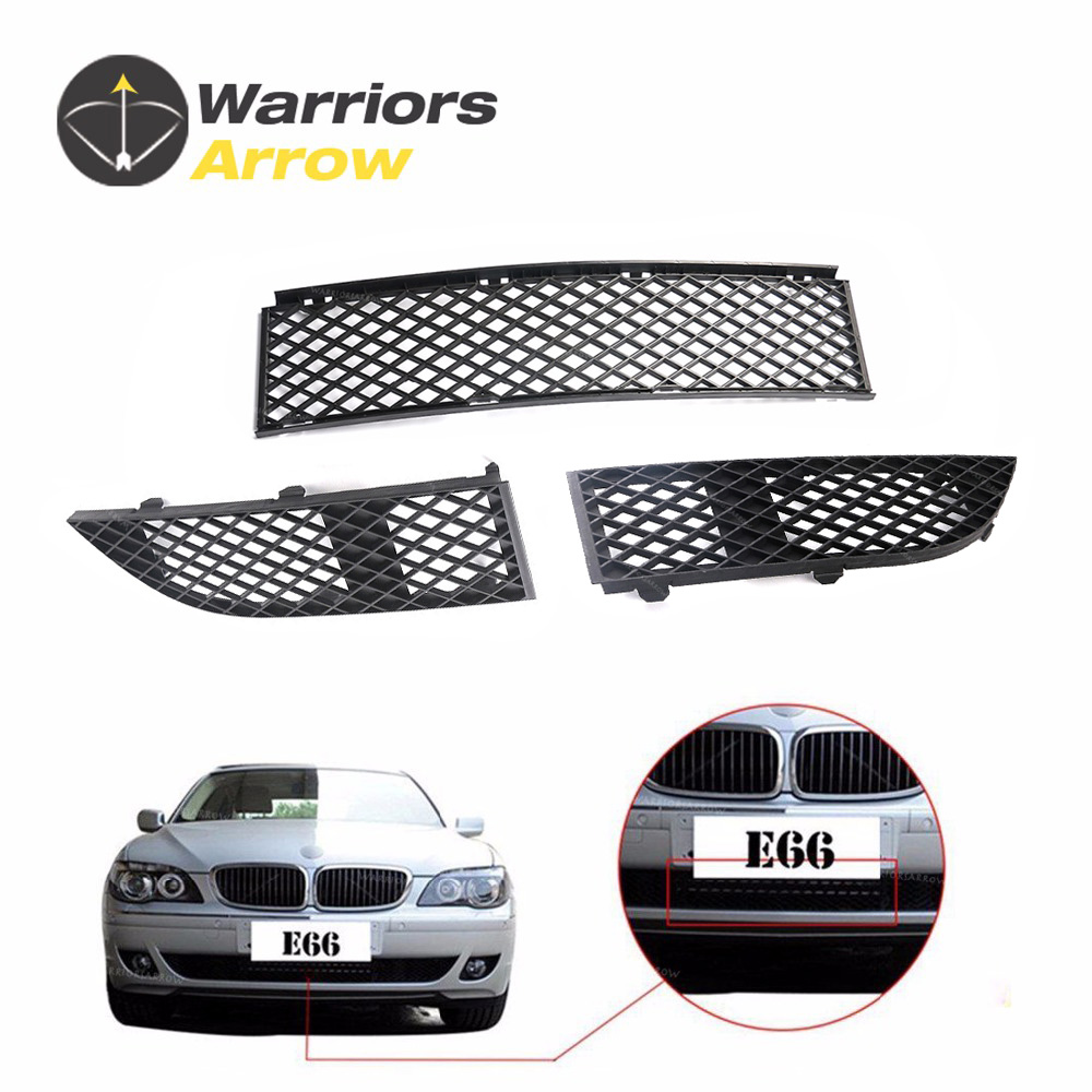 3Pcs For BMW E65 E66 750i 750Li 760i 760Li 2005 2006 2007 2008 Exterior Front Center