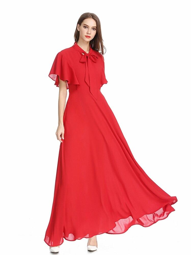 b9c6c81772 2019 Summer Dress Women Maxi Dress Short Sleeve Chiffon Dresses With Sashes  Elegant Beach Long Dresses Women's clothing Red