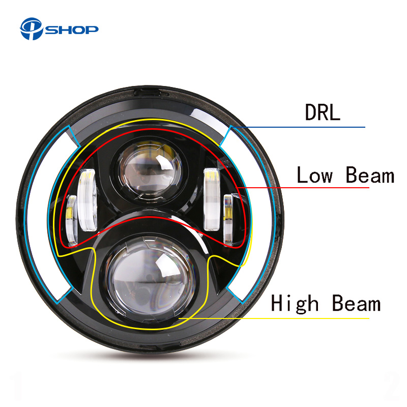 Motorbike Accessories 7 Inch Round LED Headlight Harley Touring Road King Electra Glide Forward Driving Headlamp Visor Trim Ring