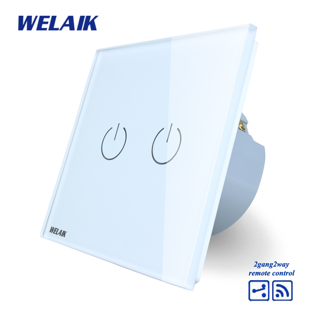 WELAIK Crystal Glass Panel Switch White Wall Switch EU Touch Switch Screen Wall Light Switch 2gang2way AC110~250V A1924W/B welaik crystal glass panel switch white wall switch eu remote control touch switch light switch 1gang2way ac110 250v a1914w b