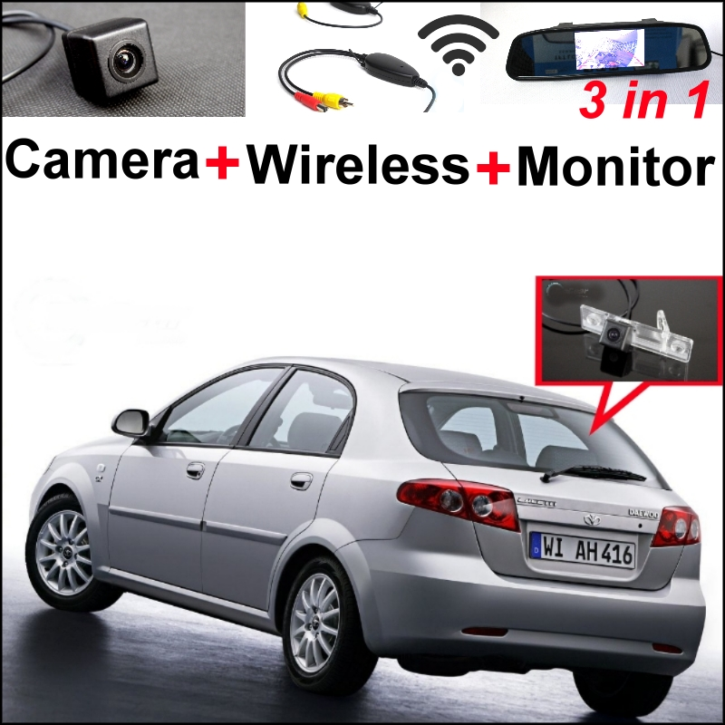 3 in1 Special WiFi Rear View Camera + Wireless Receiver + Mirror Monitor Parking System For Daewoo Lacetti Premiere Matiz Nubira wireless pager system 433 92mhz wireless restaurant table buzzer with monitor and watch receiver 3 display 42 call button