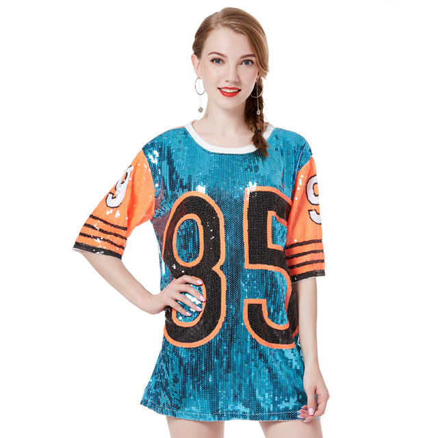 2018 Cheerleaders Stage Performance Clothing Loose Oversized Causal 85  Letter Shift Sequin T Shirt Mini Dress Hip-Hop Long Tee 14f81fe77c64