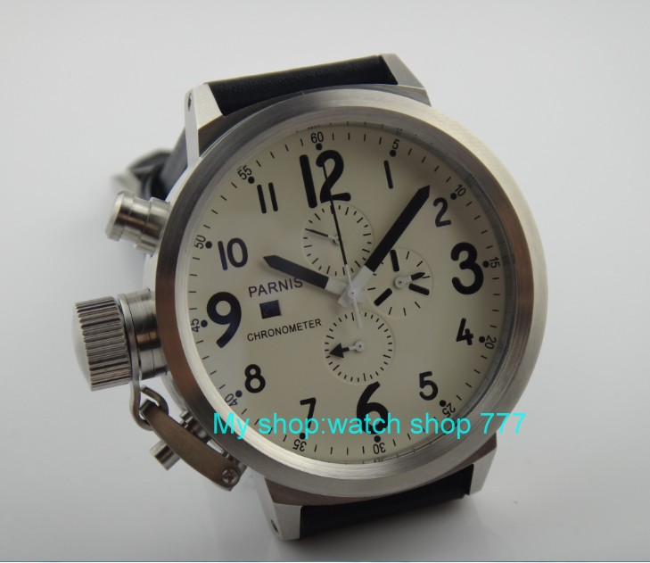 50mm PARNIS White dial Japanese quartz movement Chronograph  multifunction men's watch Auto Date Quartz watches SY7 50mm parnis black dial japanese quartz movement chronograph multifunction men s watch auto date quartz watches pvd case sy14