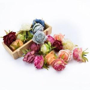 Image 1 - 6/10 stück künstliche blumen für home dekoration hochzeit auto braut zubehör freiheit diy geschenke box seide rosen blume wand