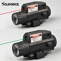 Red/Green Laser Sight LED Strong Tactical Flashlight in Black Push Button Switch+Tail for Outdoor Military Hunting Shooting