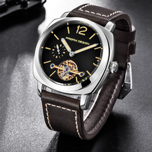 PAGANI DESIGN Luxury Tourbillon Mechanical Watches Men Genuine Leather Fashion Casual Skeleton Automatic Watch dropshipping+Box