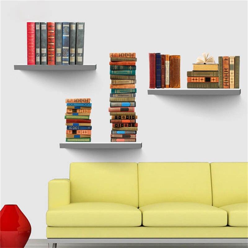 Book bookshelf removable wall sticker diy pvc 3d wall for Bookshelf wall mural