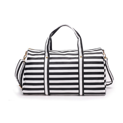 Women\'S Shoulder Bag Travel Tote Bags Stripes PU Handbag Weekend Bags Luggage Handbag Bolsos De Mujer