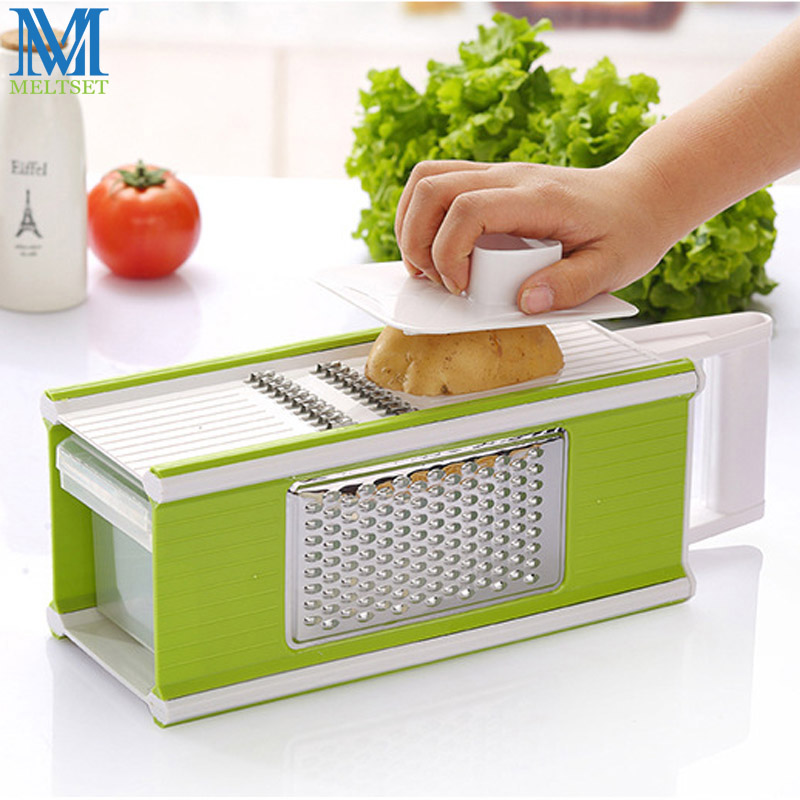 Multi function Vegetable Cutter Stainless Steel Julienne Vegetable Slicer Kitchen Grater With Container