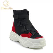 Mixed colors woman shoes sneakers 2018 flat heels shoes platforms hook & loop dad sneakers causal woman footwear PHOENTIN PH110