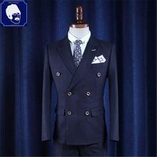 Высокое качество Для мужчин Бизнес пиджак костюм Homme Для мужчин в полоску Блейзер masculino Блейзер Femme куртка мужской костюм куртка