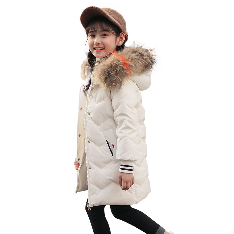 Kids Girls Winter Jacket with Fur Collar Children Boys Parka Clothes 2018 Long Warm Hooded Cotton Coats Big Size 8 10 12 14 Year boys winter parka jacket kids fur collar coats for teenager boys cotton outwear school children kids down jacket hooded clothes