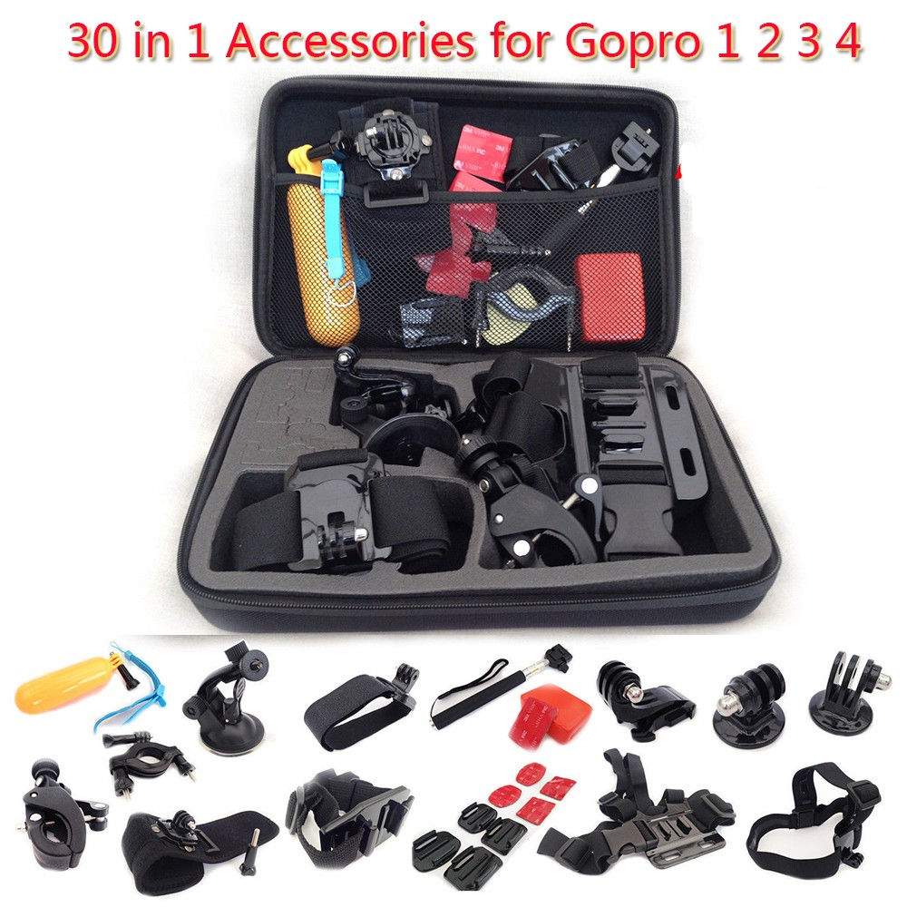 Hot Sale 30 in 1 for Gopro Go Pro Hero 4 3+ 3 2 1 Accessories Set Kit Chest Head Bag Strap Belt Suction Cup Mount Floating Grip bz81 universal floating grip handle mount accessory for gopro hero 4 2 3 3 yellow