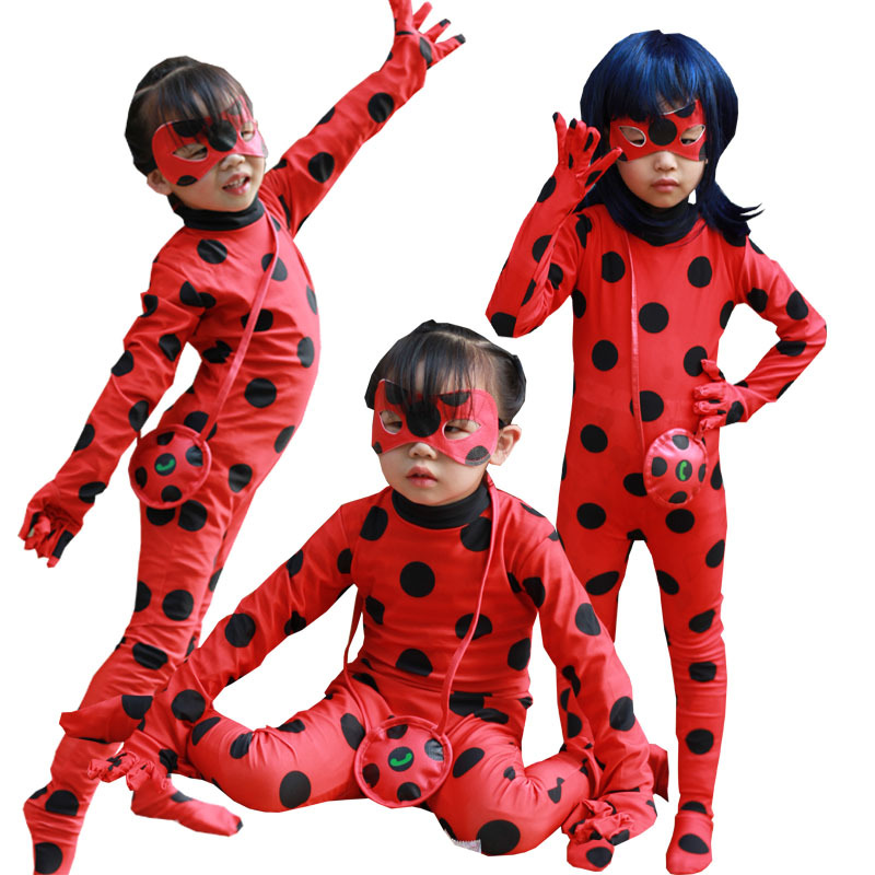Lady bug fille halloween costume pour enfants costumes enfants spandex miraculeuse coccinelle barboteuse fantaisie robe Halloween Costume