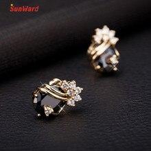 SunWard Super Luxurious Rhinestone Earrings Shining for Women Fine Jewelry Black Vintage Earrings Female 1Pair